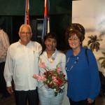 La Dra.C. Olga Lidia Pérez (centro) junto al Ministro de Educación Superior Rodolfo Alarcón Ortiz y la Viceministra Aurora Fernández