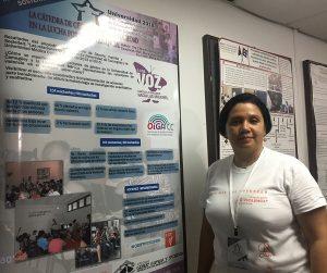 Evelyn durante la presentación de la Cátedra de Género, Familia y Sociedad en UNIVERSIDAD 2018.